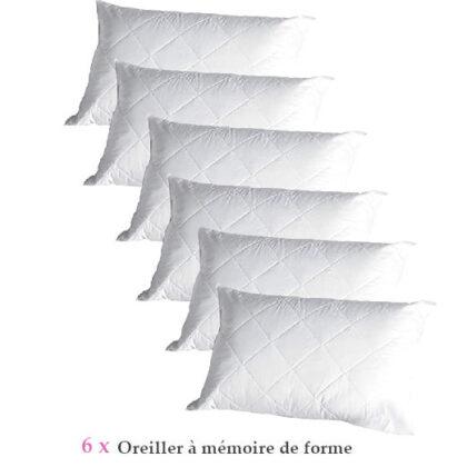Lot 6 Oreillers à mémoire de forme 50×70 orthopediques