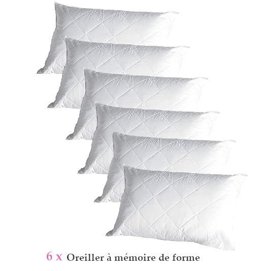 oreillers à memoire de forme par lot de 6 promotion tunisie