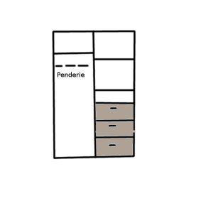 Vue interieur d'une armoire 2 portes avec 3 tiroirs de rangement