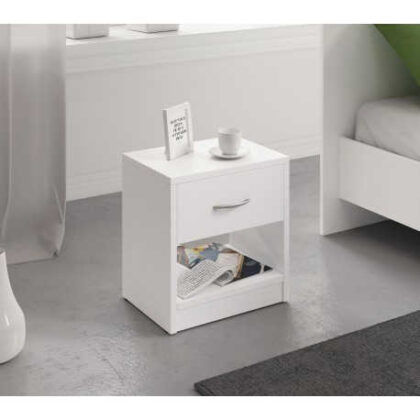 Table de nuit blanche 1 tiroir+ niche