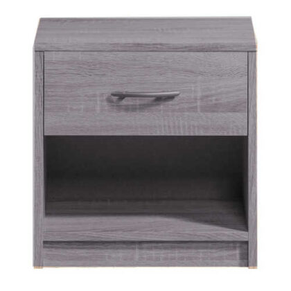 Table de nuit en gris 1 tiroir + étagère